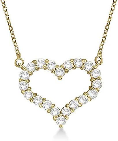 Collar con colgante de diamantes de corazón abierto, de oro amarillo de 14 k, collar de diamantes de oro macizo - corazón MEDIO. Joyería de San Valentín, Idea de regalo para ella