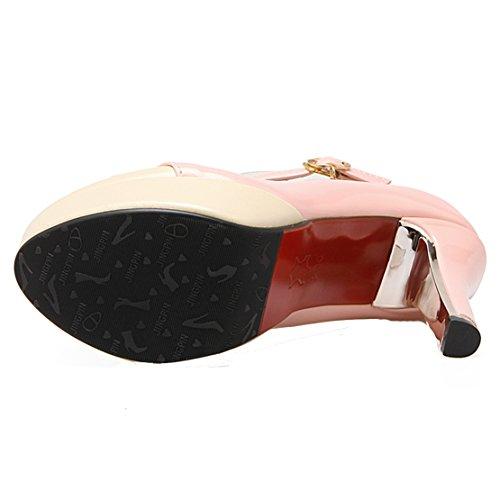 AIYOUMEI Damen Knöchelriemchen Pumps mit Schleife Plateau High Heels Party Schuhe Rosa
