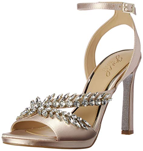 Jewel Badgley Mischka Women's KAIRA Sandal, champagne satin, 8.5 M US from Badgley Mischka