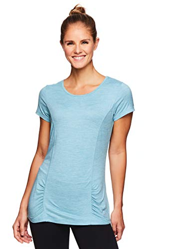 (Gaiam Women's Open Back Yoga T Shirt - Short Sleeve Workout Exercise & Training Top - Reef Waters Heather, X-Large)
