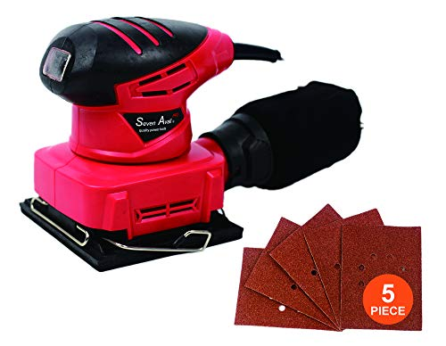 Seven Avail Orbital Sander Electric Hand Random Sander 13,000RPM High Speed Finish Sander with Efficient Dust Collection System 5pc Sanding Pad Kit Hook and Loop Pad for Removing Paint, Varnish, Polis