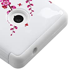 MYBAT TUFF Hybrid Phone Protector Cover for Nokia Lumia 521 – Retail-Packaging – Spring Flowers/Solid White