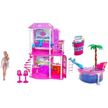 Amazon Com Barbie Ultimate Beach House Party Glam Pool Bqq Doll