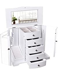 Wooden Jewelry Box Large Organizer with Clear Acrylic Doors and 4 Drawers, Gift for Mom, White UJOW57W