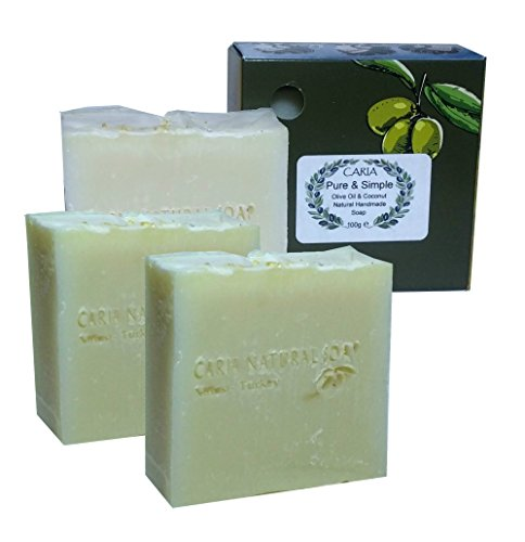 Oil Olive Cocoa Butter (3 x CARIA Pure & Simple Soap Bar All Natural Olive Coconut Oil Cocoa Butter)