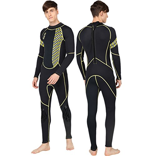 GoldFin Full Wetsuits 3mm Neoprene Wetsuit, Back Zip Long Sleeve for Diving Surfing Snorkeling-One Piece Wet Suit for Men (Yellow, 3XL)