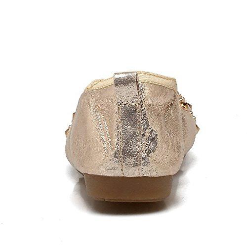 À Des Bout 35 Rond talons chaussures Enfiler À Bas Or Femmes Pu Odomolor Pompes 1q5UxwC4n