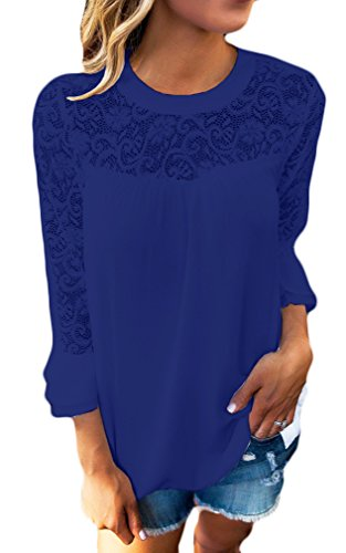 Chiffon Estivo Pizzo Colore Camicetta Rotondo T Maglietta Moda Camicia Puro shirt Lunga Blu Collo In Elegante Donna Canotta Top Casual Manica EwqxCzx1