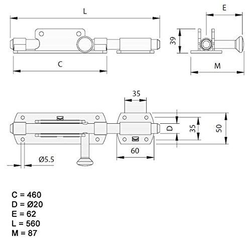 862-560-/ø20 mit abgerundeter Stange 560mm VZ Torriegel BAUER