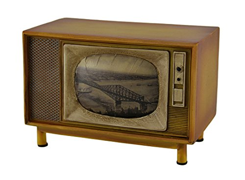 Resin Toy Banks Brown Vintage Finish Retro Console Television Coin Bank 6.75 X 4.75 X 4 Inches Brown