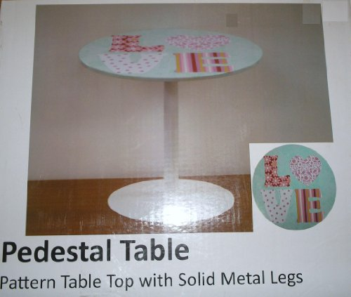 Love Pedestal Pattern Table with Solid Metal Leg