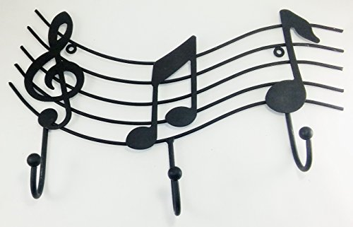 Aunt Chris' Products - Metal Music Emblem with 3-Hooks - Matte Black Color - Ball On The End Of The Hooks - Use Indoor Or Outdoor - Hang Light Coats, Hats, Towels, Purses and More