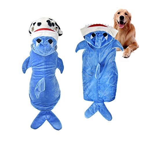 FLAdorepet Halloween Dog Shark Costume Outfits for Large Dog Winter Fleece Puppy Jacket Coat Hoodie Funny Dog Clothes Golden Retriever (2XL, Blue) ()