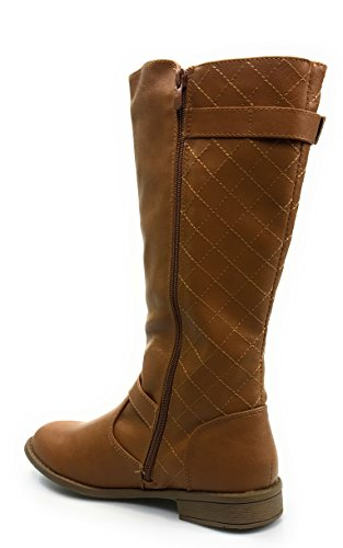 Forever Link Womens ELVA-23 Stitched Quilted Boot Tan Je7WV
