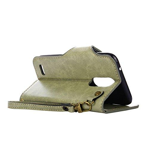 MEIRISHUN Leather Wallet Case Cover Carcasa Funda con Ranura de Tarjeta Cierre Magnético y función de soporte para LG K4 (2017)[Eurasian version] - Negro Verde claro