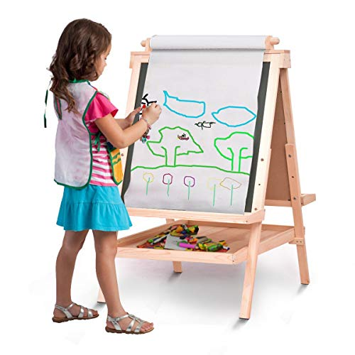 All in One Kid's Double Side Wooden Art Easel w/Paper Roll