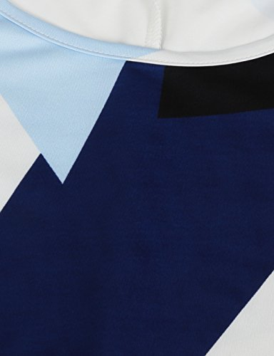 Santa Line Claus MOOSUNGEEK Christmas Dress Gifts Geometric Xmas Dress Flared A White Women's Print ppFXvq1