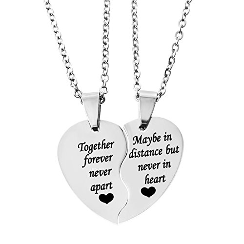 MJartoria BFF Necklace for 2-Split Valentine Heart TOGETHER FOREVER NEVER APART Best Friends Pendant Friendship Necklace Set of 2 (Distance-Silver)