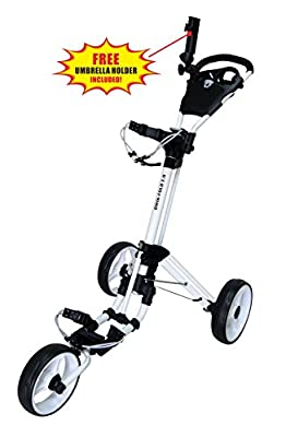 Qwik-Fold 3 Wheel Push Pull Golf CART - Foot Brake - ONE Second to Open & Close! from QWIK-FOLD