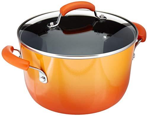Rachael Ray Classic Brights Hard Enamel Aluminum Nonstick 6-Quart Covered Stockpot, Orange Gradient