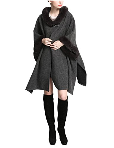 Gihuo Women's Luxury Batwing Sleeve Faux Fur Hooded Cloak Poncho Sweater Cape (One Size, (Sleeve Hooded Poncho)