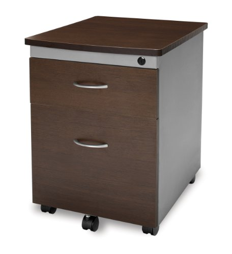 OFM Model 55106 Modular Wheeled Mobile 2-Drawer File Cabinet Pedestal, Walnut from OFM