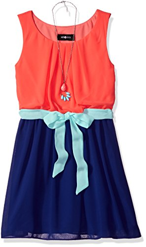 Amy Byer Big Girls' Sleeveless Colorblock Dress, Coral, 7