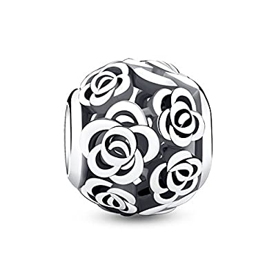 Glamulet 925 Sterling Silver Rose Story Openwork Bead Charm Fits Bracelet, Cute Pink Plated Ideal Jewelry Gifts by Glamulet