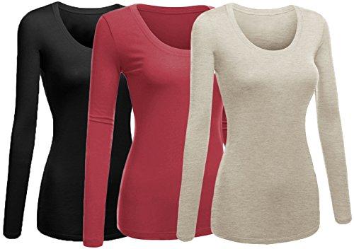 Emmalise Women's Plain Basic Scoop Neck Long Sleeve Tshirt Tee - 3Pk - Black, Mauve,Oat, 1XL