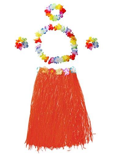 CISMARK Women's Hawaiian Grass Hula Skirt Wears Set (Red 80cm, 5pcs/Set) -