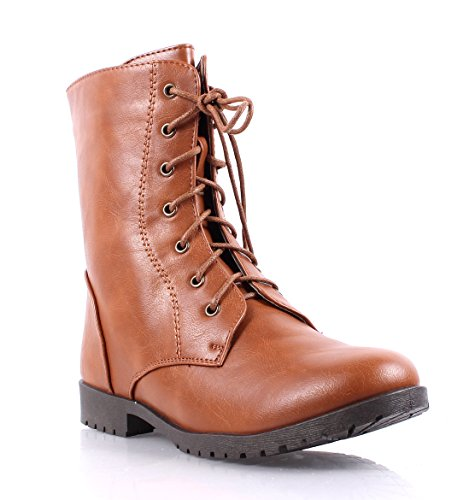 Hot Fashion Lace up Combat Military Zip Winter Boots Faux Leather Womens Mid-calf Boots Shoes New Without Box (8.5, Cognac) - Mid Calf Zip Boot