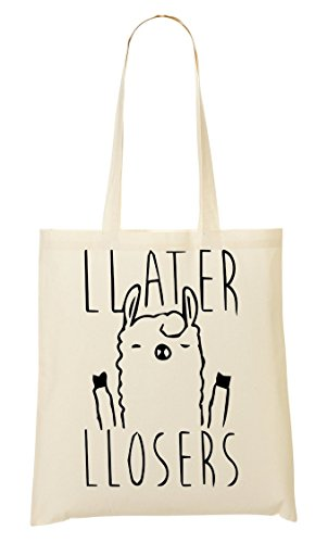 CP Llama Says Later Loosers Funny Cute Bolso De Mano Bolsa De La Compra