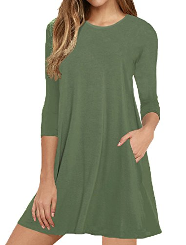 Viishow Womens Round Neck 3/4 Sleeves A-line Casual Tshirt Dresses with Pocket Army Green L
