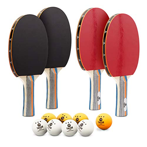 Yan&Dan -  Ping Pong Paddle Set | 4 Table Tennis Rackets | 8 Professional Balls with Portable Case | Excellent Grip, Speed and Spin | Soft Rubber Material | Recreational Bundled Set | Indoor & Outdoor