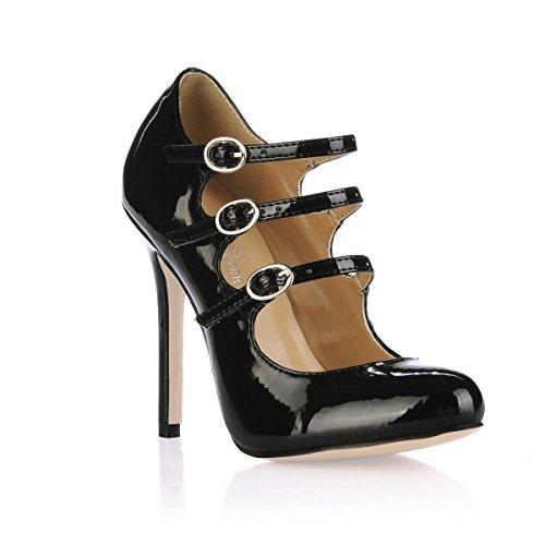 redonda de primavera de otoño talón CM de patente de goma sandalias altos de las mujeres aguja 4U® negro punta Best suela 12 cuero de Tacones XRqwaxgB