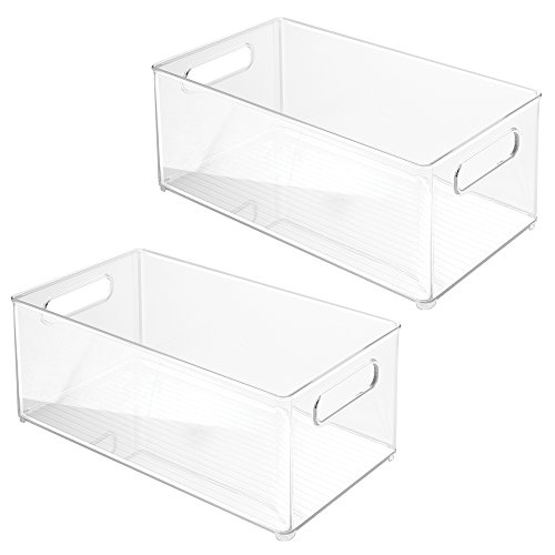 InterDesign Refrigerator or Freezer Storage Bin – Food Organizer Container for Kitchen - Deep Drawer, Clear, Set of (White Transparent Refrigerator)
