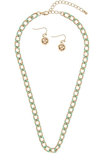 Trendy Fashion Jewelry Color Single Chain Strand Necklace By Fashion Destination | (Mint)