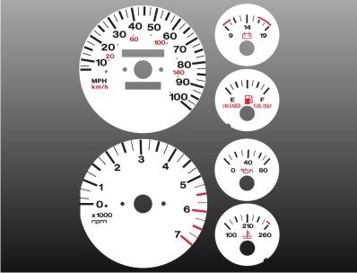 1992-1995 Jeep Grand Cherokee White Face Gauges