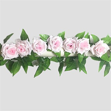 CLG-FLY 240cm Set of 9 Flowers Rose Flower Rattan Silk Cloth Flowers,Light Pink691