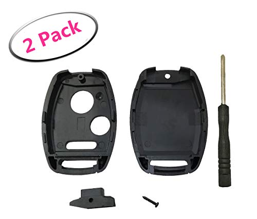 2 Pack Key Fob Shell Case Fit for Honda Accord Crosstour Civic Odyssey CR-V CR-Z Fit Keyless Entry Remote Key Housing Replacement with Free Screwdriver Casing Only (Model 1) -