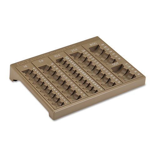 PM Company Products - PM Company - Counter Change Plastic Coin Tray w/Lock, Pebble Beige - Sold As 1 Each - One-piece plastic tray has pockets for pennies, nickels, dimes, quarters, halves and dollars for precise coin count. - Denominations clearly marked along edge of tray. - (Tray Counter Change)