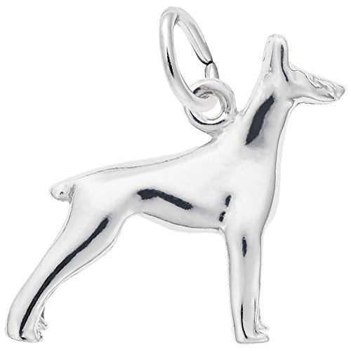 Doberman Dog Charm In Sterling Silver, Charms for Bracelets and Necklaces