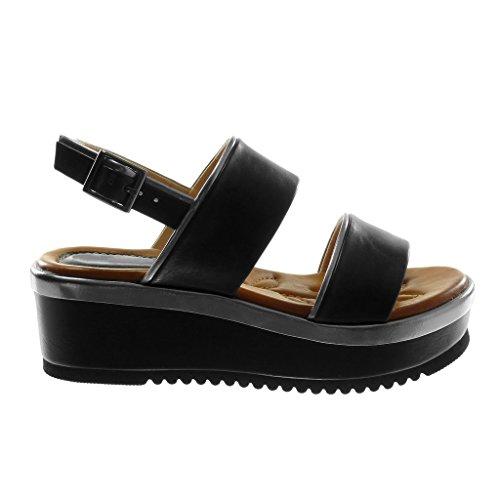 6 Mule Cm Mode Compensé Noir Angkorly Plateforme Chaussure Lanière Femme Cheville Métallique Sandale Talon Bicolore ptx7wq