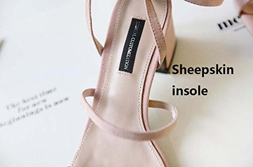 Tête la à xie Strap Asakuchi de Femmes Sandales Mode d'été Mot Ronde d'un Pied Confortable Pink mi de Talon CqXAqHw