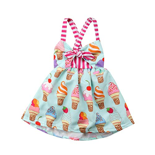 Toddler Kids Baby Girl Halter Sleeveless Bodysuit Ice Cream Print Flared Dress Summer Clothes Outfit Sets (Pink,6-12 M) -