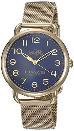 Coach Women's 14502665 Delancey Gold Tone Stainless Mesh Bracelet Blue Dial Watch ()