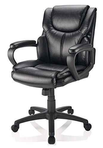 Superb Brenton Studio Mayhart Vinyl Mid Back Chair Black Alphanode Cool Chair Designs And Ideas Alphanodeonline