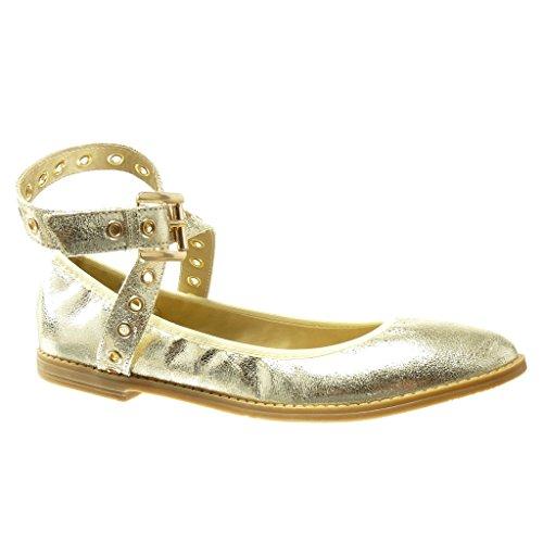 Gold Angkorly String Stil 1 Vintage cm Schuhe Ballerina Damen Blockabsatz Tanga Perforiert Golden 7qwrSX7