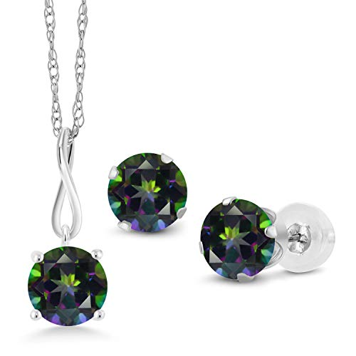 Gem Stone King 3.00 Ct Round Green Mystic Topaz 10K White Gold Pendant Earrings Set With Chain ()