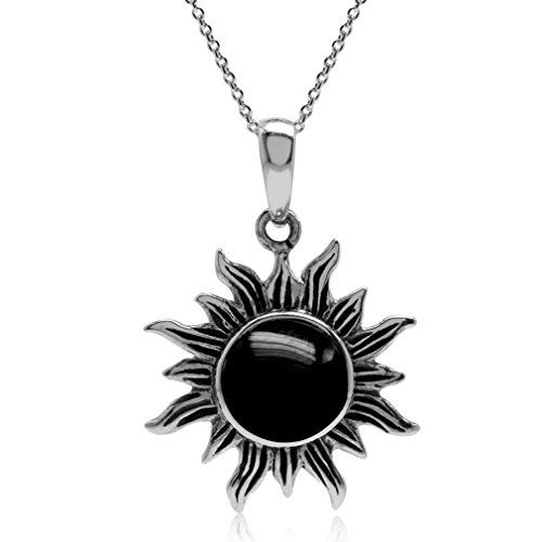 (Created Black Onyx Inlay 925 Sterling Silver Sun Ray Inspired Pendant w/18 Inch Chain)